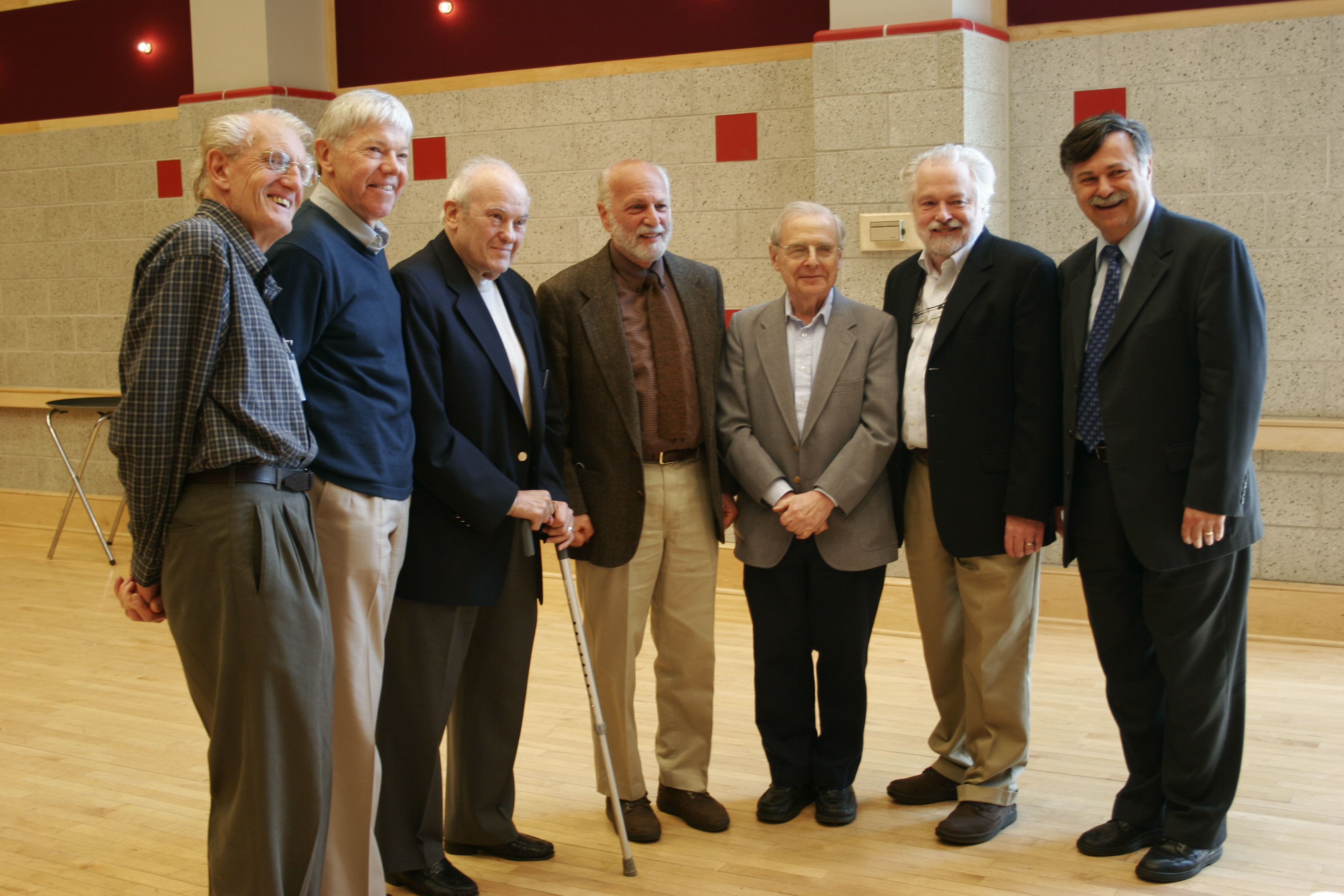 Dick Kieburtz (second from left) and fellow Chairs at the 35th Anniversary of the CS department